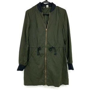 H&M Long Jacket Olive Green Full Zip Front Utility Bomber Pockets
